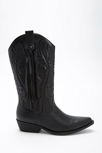 Forever21 Faux Leather Tasseled Boots