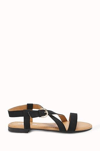 Forever21 Faux Nubuck Cross Strap Sandals