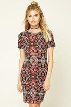 Love21 Women's  Black & Rust Contemporary Tribal Print Dress