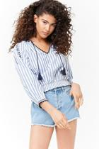Forever21 Floral Embroidered Striped Peasant Top