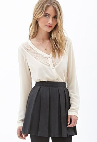 Forever21 Lace Curved Hem Shirt