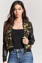Forever21 Faux Shearling Camo Bomber Jacket