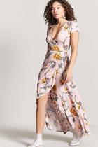 Forever21 Floral Mock Wrap Maxi Dress