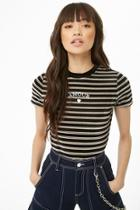Forever21 Amour Embroidered Striped Velvet Top