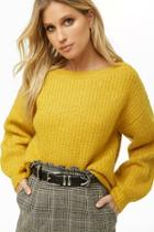 Forever21 Brushed Knit Balloon-sleeve Sweater