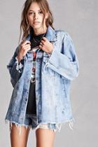 Forever21 Oversized Distressed Denim Jacket