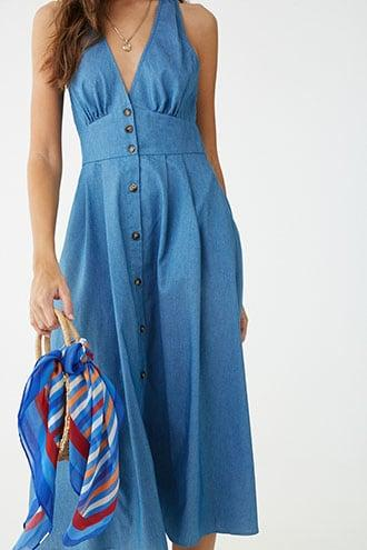 Forever21 Strappy Chambray Button-front Midi Dress