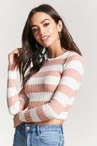 Forever21 Striped Ribbed Sweater-knit Crop Top