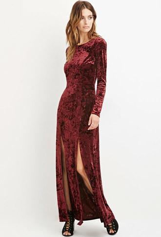 Love21 Crushed Velvet Maxi Dress