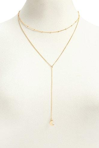 Forever21 Crescent Moon Pendant Layered Necklace