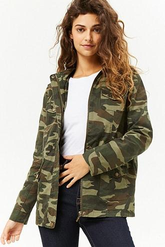 Forever21 Camo Print Hooded Utility Jacket