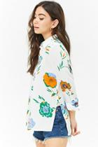 Forever21 Floral Button Top