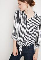 Love21 Tie-front Striped Shirt