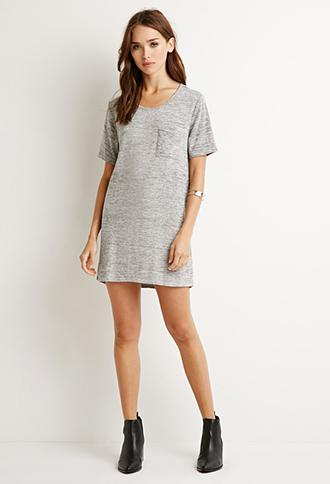 Forever 21 Longline Marled Knit Top Grey/black Small