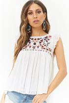 Forever21 Sheer Floral Embroidered Clip Dot Top