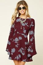 Love21 Women's  Burgundy & Blue Contemporary Floral Print Dress