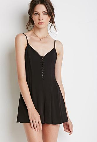 Forever 21 Buttoned-front Romper Black Small