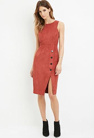 Love21 Women's  Contemporary Faux Suede Sheath Dress