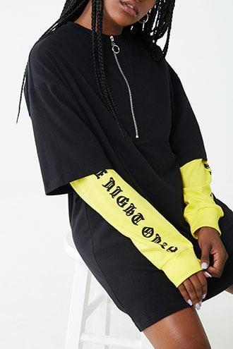 Forever21 Pull-ring Zippered T-shirt Dress