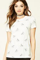 Forever21 Women's  Cat Print Knit Tee
