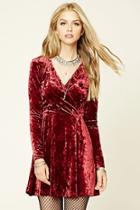 Forever21 Women's  Burgundy Crushed Velvet Skater Dress