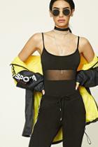 Forever21 Strappy Mesh Cami Bodysuit