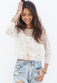 Forever21 Embroidered Metallic Top