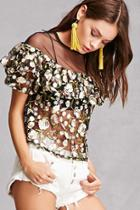 Forever21 Rd & Koko Embroidered Sheer Top