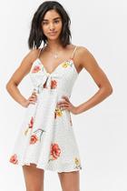 Forever21 Floral Polka Dot Tie-front Dress