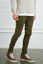 21 Men Men's  Olive Slim-fit Jeans