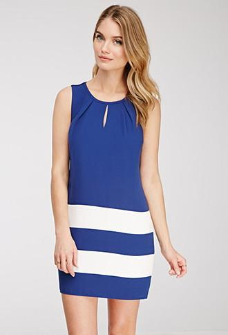 Love21 Colorblock-striped Shift Dress