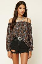Forever21 Contemporary Floral Peasant Top