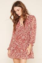Love21 Women's  Rust & Light Pink Contemporary Paisley Dress