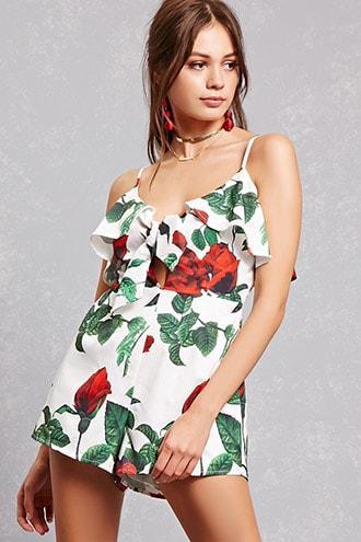 Forever21 Rose Print Romper