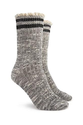 Forever21 Heathered Striped-trim Crew Socks