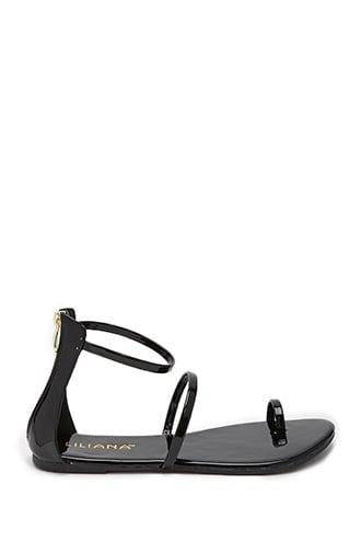 Forever21 Zippered Toe-ring Flat Sandals