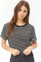 Forever21 Striped Boxy Cuffed Tee