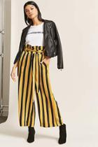 Forever21 Stripe Belted Paperbag Pants