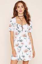 Forever21 Women's  Cream & Blush Floral Print Skater Dress