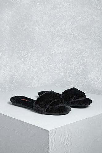 Forever21 Shoe Republic Faux Fur Slides