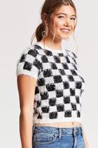 Forever21 Checkered Eyelash Knit Top