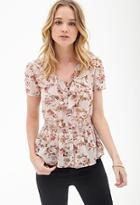 Forever21 Ruffled Floral Chiffon Blouse