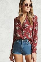 Forever21 Floral Print Chiffon Blouse