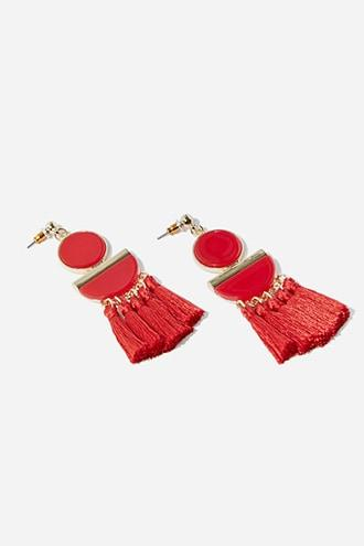 Forever21 Tassel Geo Drop Earrings