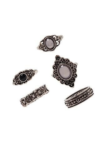 Forever21 Faux Stone Stackable Ring Set