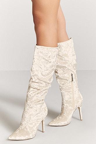 Forever21 Crushed Velvet Stiletto Boots
