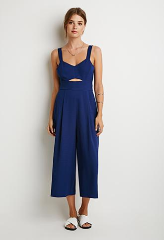 Love 21 Textured Woven Jumpsuit Navy X-small
