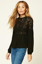 Forever21 Floral Lace-panel Top