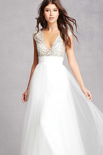 Forever21 Rhinestone & Sequin Tulle Gown