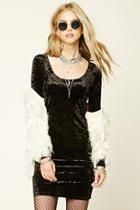 Forever21 Women's  Black Crushed Velvet Bodycon Dress